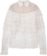Elie Saab Ruffled Georgette And Lace Blouse - Off-white