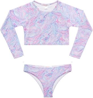 Stella Cove Girl's Pastel Swirl Crop Rash Guard w/ Bikini Bottoms, Size 2-12