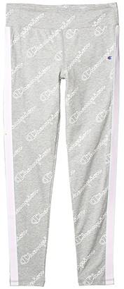Champion Kids Aop Open Script Leggings with Side Taping (Big Kids) (Oxford Heather) Girl's Casual Pants