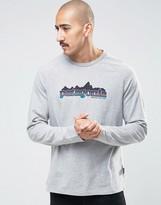 Patagonia Long Sleeve Fitz Roy Logo Top In Slim Fit Grey
