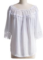 White Lace-Accent Off-Shoulder Top - Plus