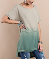 Jane Taupe & Olive Ombré Waffle Hi-Low Tunic