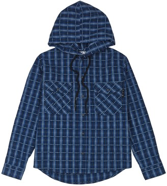 Off-White Blue checked hooded cotton-blend shirt
