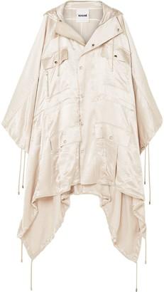 Koché Asymmetric Hooded Satin Coat