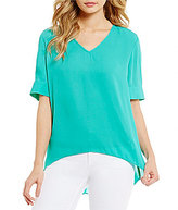 Daniel Cremieux Lela V-Neck Short Sleeve Hi-Low Georgette Blouse