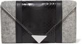 Alexander Wang Prisma paneled felt and elaphe wallet