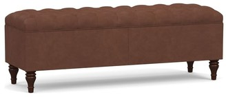 Pottery Barn Lorraine Tufted Leather Queen Storage Bench