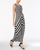 NY Collection Chevron-Print Hardware Maxi Dress