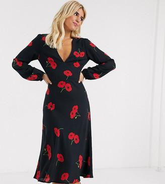 Musier Exclusive long sleeve poppy print midi dress