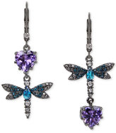 Betsey Johnson Hematite-Tone Purple and Blue Stone Dragonfly Mismatch Earrings