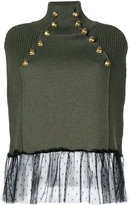 RED Valentino lace trim studded knitted top - women - Polyamide/Virgin Wool - XS