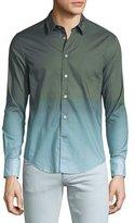John Varvatos Ombre Sepia Long-Sleeve Sport Shirt, Green