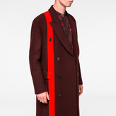 Paul Smith Men's Burgundy Double-Breasted Houndstooth-Stripe Wool Overcoat