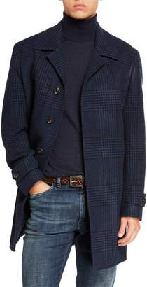 Neiman Marcus Men's Balmacan Plaid Button-Front Coat