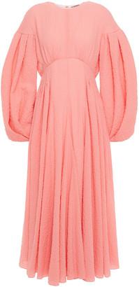 Emilia Wickstead Raquel Pleated Cotton-blend Cloque Midi Dress