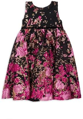 Marchesa Notte Mini Little Girl's Petal Metallic Floral Dress