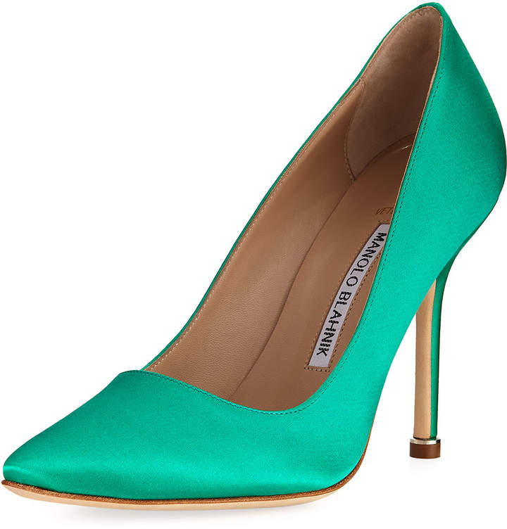 Manolo Blahnik Satin Pointed-Toe Pump, Green