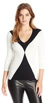 Ellen Tracy Women's Colorblocked Rib Pullover