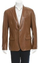 Dolce & Gabbana Grained Leather Two-Button Blazer w/ Tags