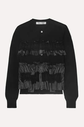 Comme des Garcons Georgette And Taffeta-trimmed Ruffled Wool Cardigan - Black
