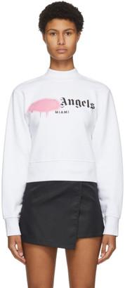 Palm Angels White Miami Sprayed Logo Sweatshirt