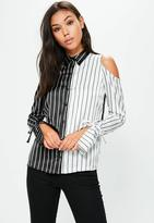 Missguided Black Monochrome Stripe Cold Shoulder Shirt, Black