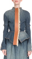 Loewe Denim Puff-Sleeve Jacket with Leather Placket