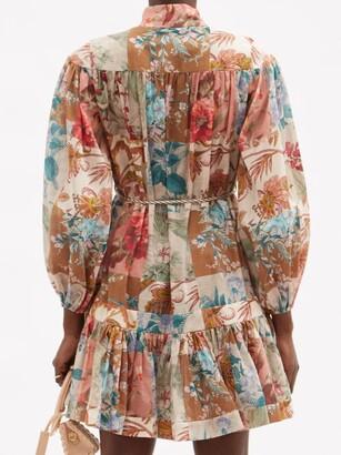 Zimmermann Cassia Patchwork-floral Cotton Mini Dress - Multi