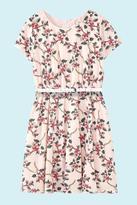Yumi Girls Floral Vine Print Belted Dress Blue