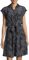 Rebecca Taylor Button-Front Printed Tie-Front Dress, Black