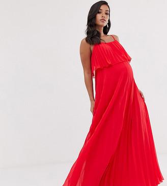 ASOS DESIGN Maternity pleated crop top maxi dress
