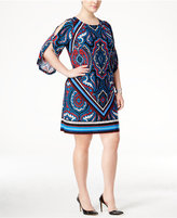 INC International Concepts Plus Size Cold-Shoulder Printed Sheath Dress, Only at Macy's