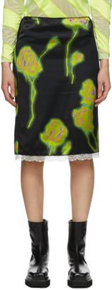 Meryll Rogge Black and Green Satin Neon Roses Skirt