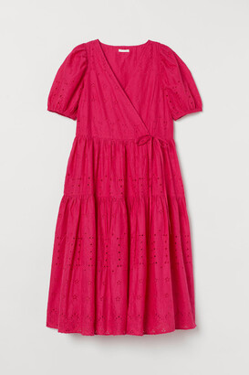 H&M Embroidered Cotton Dress - Pink