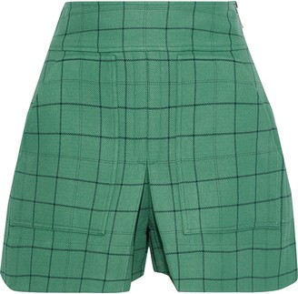 Tibi Pleated Checked Twill Shorts