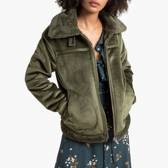 La Redoute Collections Faux Suede Aviator Jacket with Faux Fur Lining and Pockets