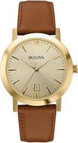 Bulova Mens Gold-Tone Round Leather Strap Watch 97B135