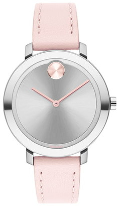 Movado Bold Leather Strap Watch, 34mm