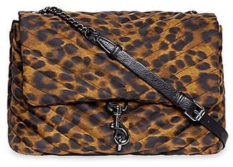 Rebecca Minkoff Jumbo Edie Quilted Leopard-Print Shoulder Bag