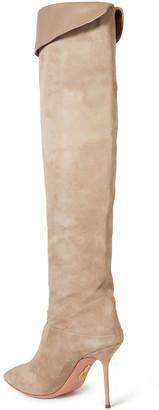 Aquazzura Lancaster 95 Leather-trimmed Suede Knee Boots