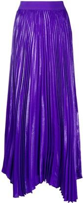 Alice + Olivia Katz pleated lame maxi skirt