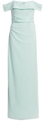 Halston Off-The-Shoulder Draped Crepe Gown