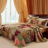 Greenland 3 Piece Oversized Queen Bedspread Quilt Set to the Floor, French Country Patchwork Pattern, Floral Paisley Prints, Red Coral Moss Sage Green Mustard Yellow Golden Tan Navy Blue - Beautiful Colors!