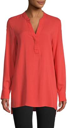 Lord & Taylor Long-Sleeve High-Low Top