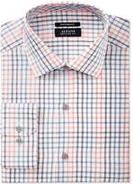 Alfani Black Men's Big & Tall Classic/Regular Fit Performance Coral Blue Windowpane Dress Shirt, Only at Macy's