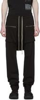 Rick Owens Black Long Drawstring Cargo Pants