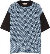 Marni Printed Silk Crepe De Chine And Cotton Top - Blue