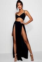 boohoo Slinky Bralet & Split Maxi Skirt Co-ord