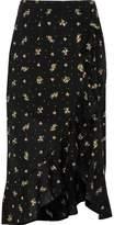 River Island Womens Black ditsy floral frill hem wrap maxi skirt