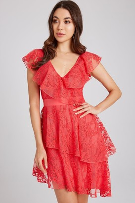 Little Mistress Selma Poppy Lace Frill Dress